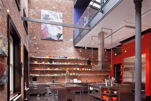 Photo of huge modern kitchen interiors in the Tribeca triplex