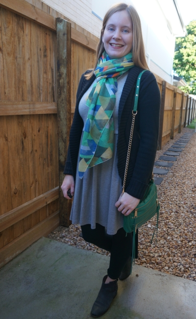 monochrome grey skater dress black cardigan otufit with printed green accessories scarf and mini 5 zip bag | away from blue