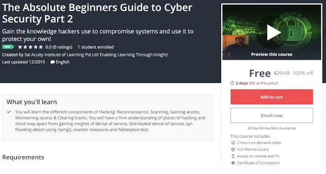 [100% Off] The Absolute Beginners Guide to Cyber Security Part 2| Worth 29,99$