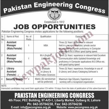 Pakistan Engineering Congress Latest Jobs
