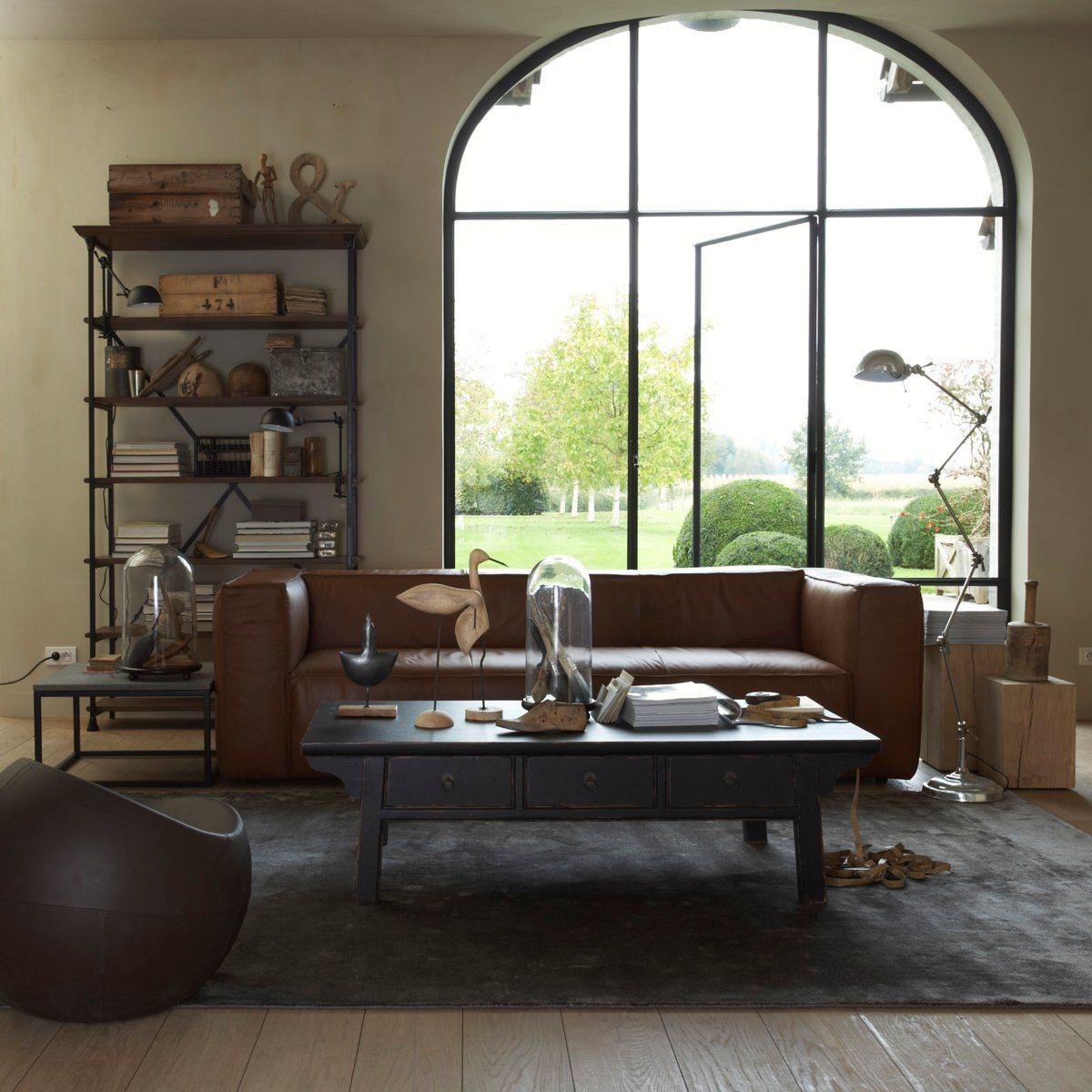 deco industrielle salon ampm avec canap et table basse dekobook. Black Bedroom Furniture Sets. Home Design Ideas