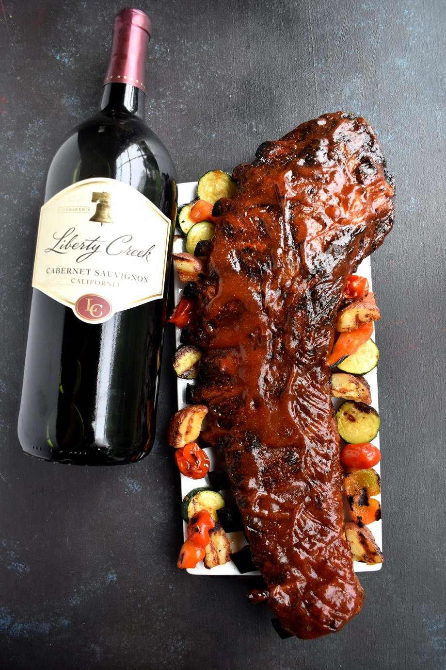 ribs and wine