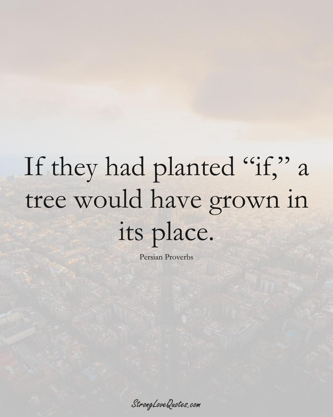 """If they had planted """"if,"""" a tree would have grown in its place. (Persian Sayings);  #aVarietyofCulturesSayings"""
