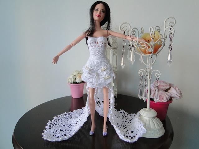 Vestido de noiva de crochê para Barbie, por Pecunia MillioM 7