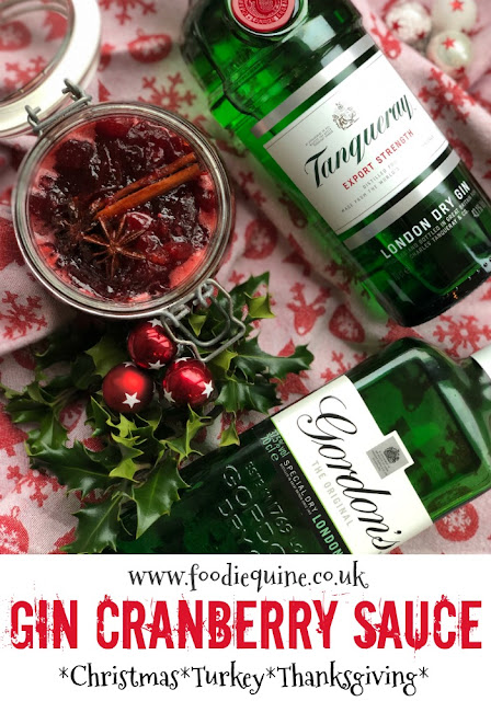 www.foodiequine.co.uk We wish you a Merry Ginmas! No festive meal is complete without Cranberry Sauce. This version includes Gin for a modern twist on the classic Christmas relish. Perfect to accompany a Thanksgiving or Christmas dinner and would make an ideal edible gift for any gin lover.
