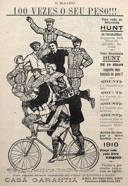 Campanha de 1910 que promovia a resistência das rodas de bicicleta Hunt