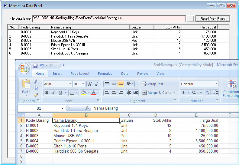 Mengambil Data Excel dengan VB6