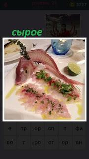 на подносе на столе лежит сырое филе рыбы