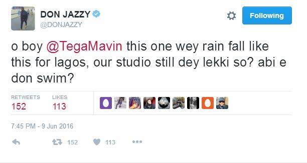 LMAO! Don Jazzy makes fun of Lekki flooding