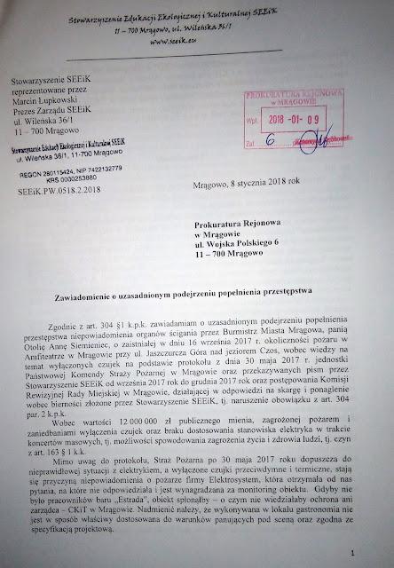 Zgłosili sprawę do Prokuratury Rejonowej