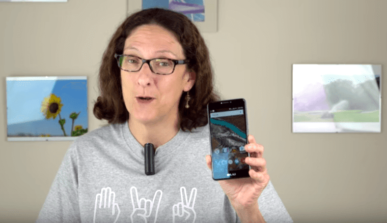 Lisa Gade Holding The BLU R1 Plus