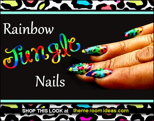 Rainbow Leopard Press on Nails wild animal print nails leopard nail art designs leopards rainbow jungle