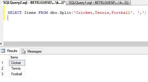 SQL Server 2008 Split Function Example to Split Comma