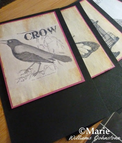 Black and white crow bird design on sepia background mounted onto pennant flag section
