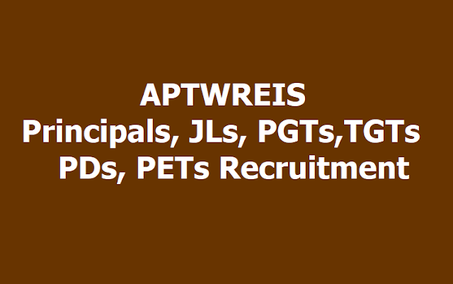 APTWREIS Principals, JLs, PDs, PGTs,TGTs, PETs Recruitment 2019