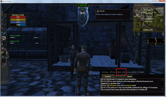 In Darkfall Rise of Agon, my ping in the game can go as high as 290 ms!