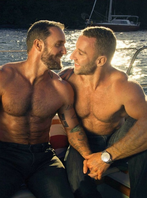 Gay hunk hairy kissing swimming pool after 1