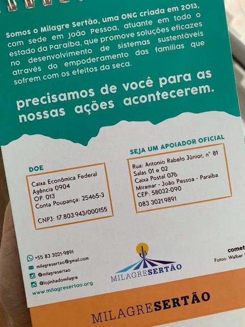 solidariedade, doação, sertão, Paraíba, milagre sertão