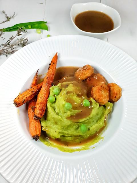 purée de petits pois frais, carottes confites et sauce gourmande (végétarien, sans lactose, allégé)