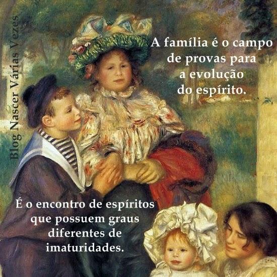 A família é o campo de provas da evolução do espírito. Livro Espírita