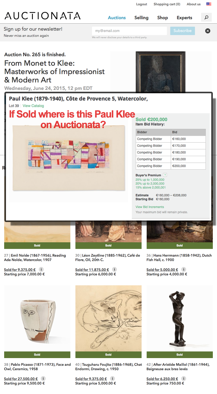 If Sold where is this Paul Klee on Auctionata?