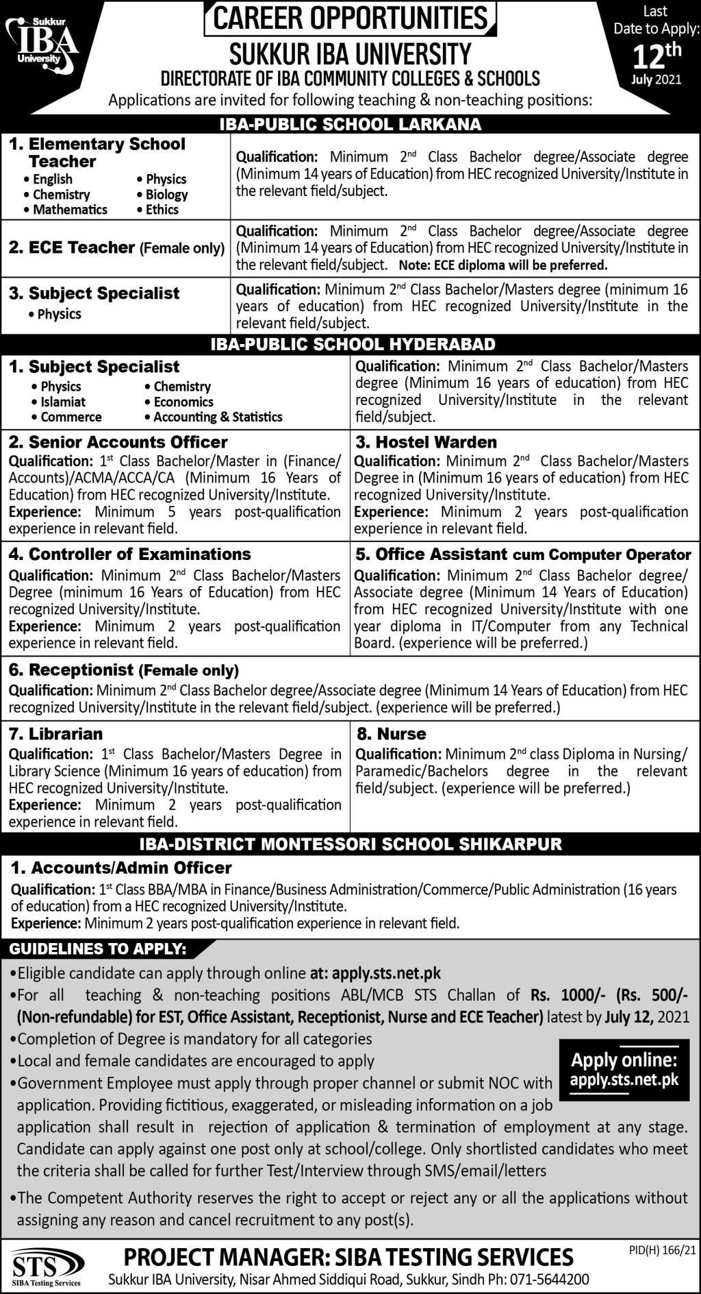 apply.sts.net.pk - Sukkur IBA University Jobs 2021 in Pakistan
