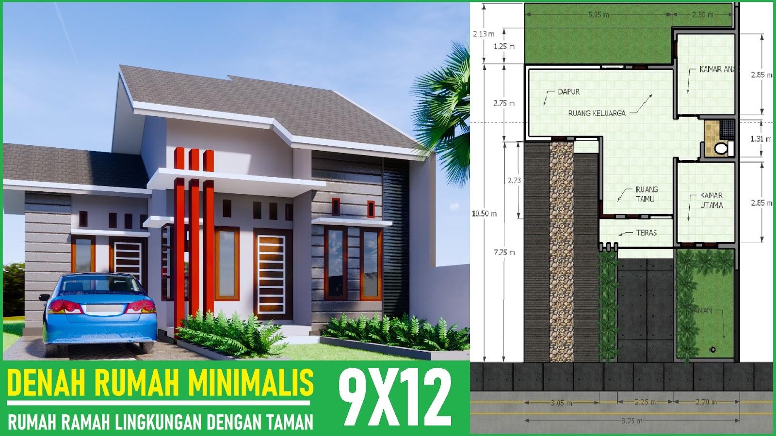 Denah Rumah Minimalis 9x12 Banyak Taman - DESAIN RUMAH MINIMALIS