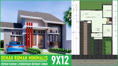 denah rumah minimalis 9x12 banyak taman - desain rumah