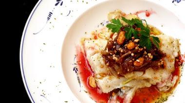 Bacalao con cebolla y salsa de fresas al Pedro Ximénez