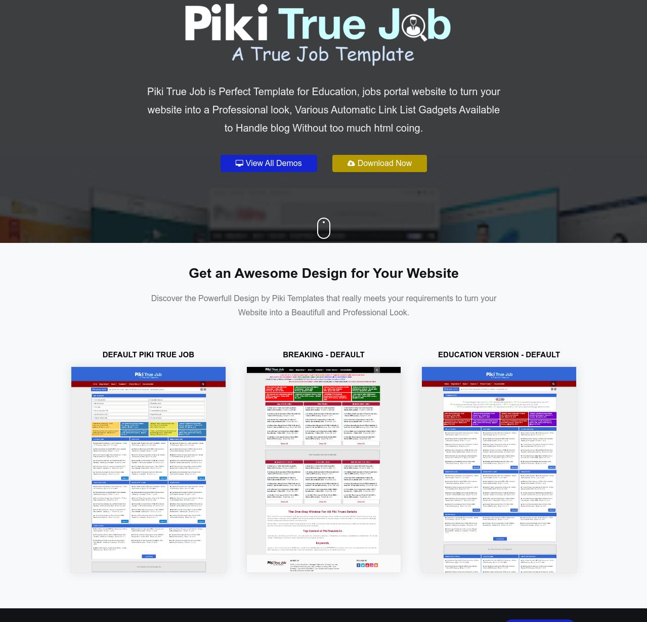 Piki True Job  Education Blogger Template