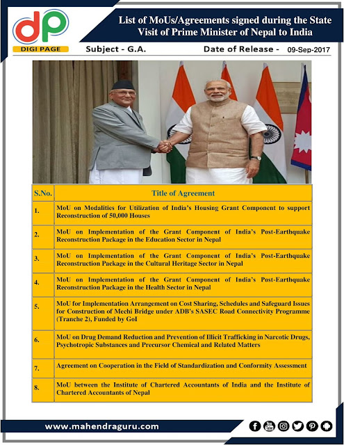 DP | List of MoUs/Agreements | 09 - Sep - 2017