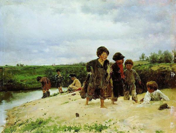 Маковский Владимир Егорович - От дождя. 1887