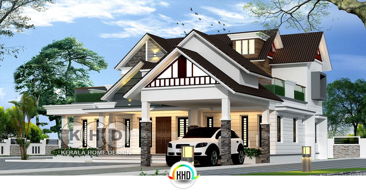 Nalukettu home in European style structure | Kerala home ... on 2 story house design, colonial style home design, kerala house interior design,