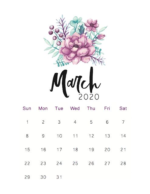 Calendario con rosa 2020 de marzo