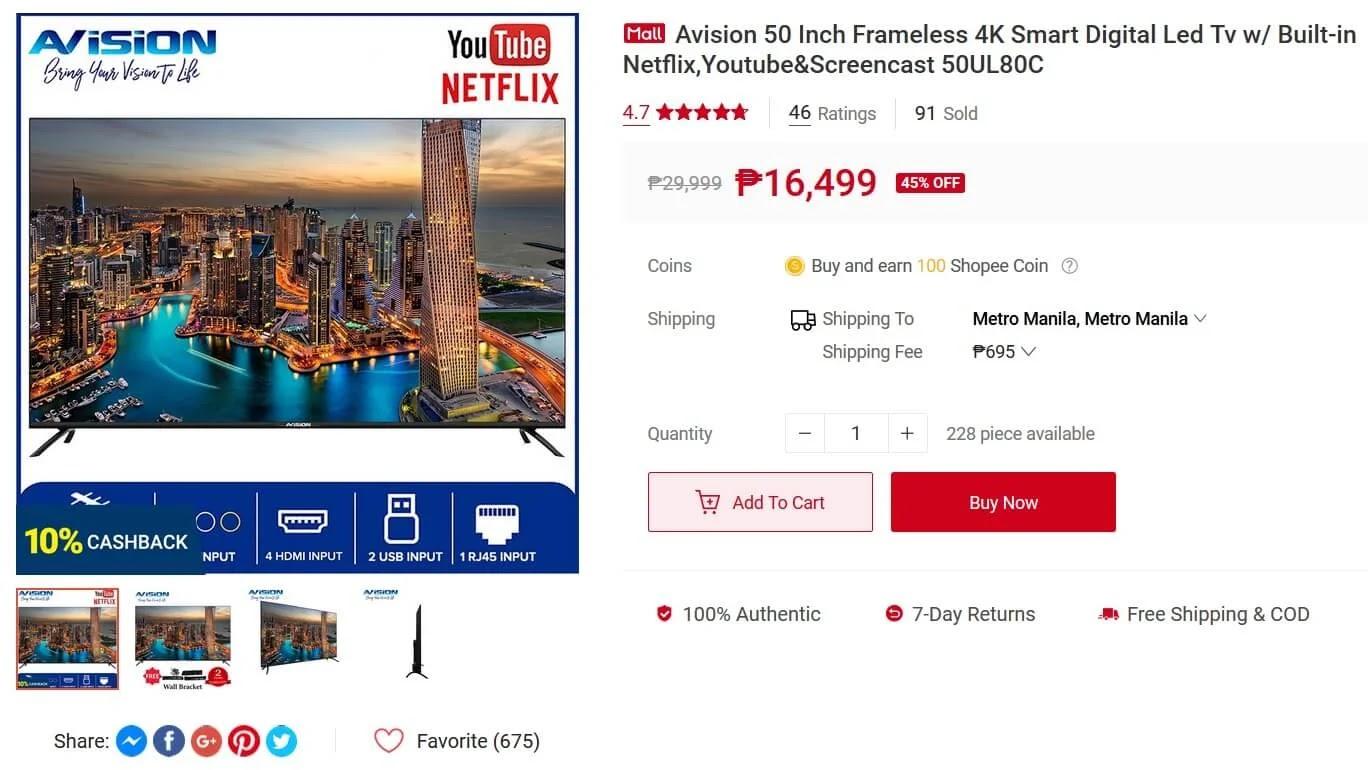 Avision 50-inch Frameless 4K Smart Digital LED TV
