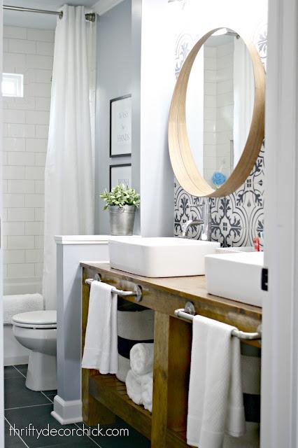 DIY wood open vanity