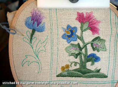 Crewel Sampler (by Elsa Williams): Beginning the last large motif