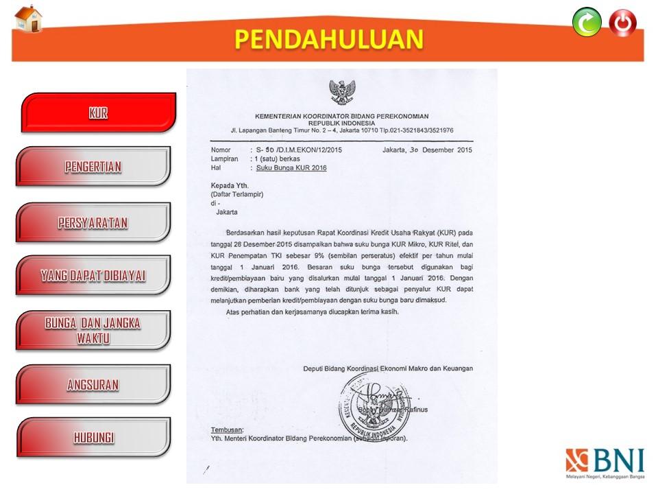 Pembinaan Lembaga Pelatihan Kerja: PRESENTASI KUR BNI