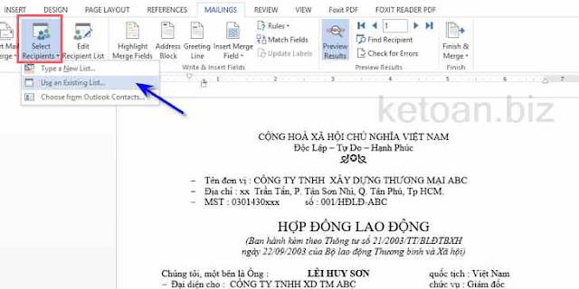 Hướng dẫn soạn thảo Hợp đồng lao động tự động với Mail Merge 1