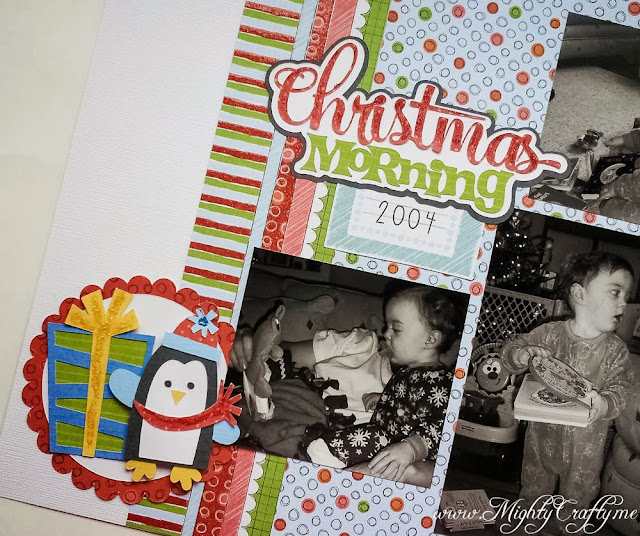 Christmas Morning layout with Miss Kate Cuttables -- www.MightyCrafty.me