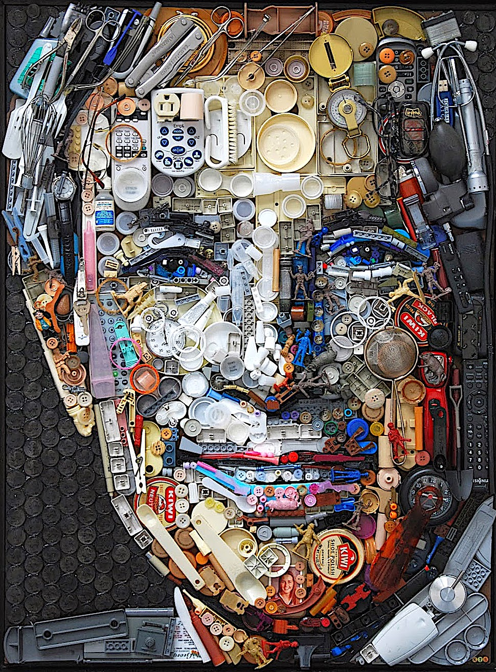 Kirkland Smith art, a smiling man made of many small objects