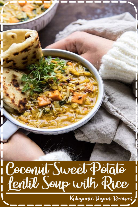 When you're in need of warming comfort food, but you also want healthy, this Coconut Sweet Potato Lentil Soup with Rice is just the soup to make. All made in just ONE pot (or in your instant pot), in less than an hour. It's cozy, a little spicy, and filled with vegetables. The perfect healthy bowl of soup  #healthyrecipes #recipes #easyrecipes #veganrecipes