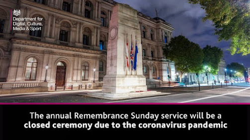 Remembrance Day Service shows chruch and Cenotaph and requests people stay home