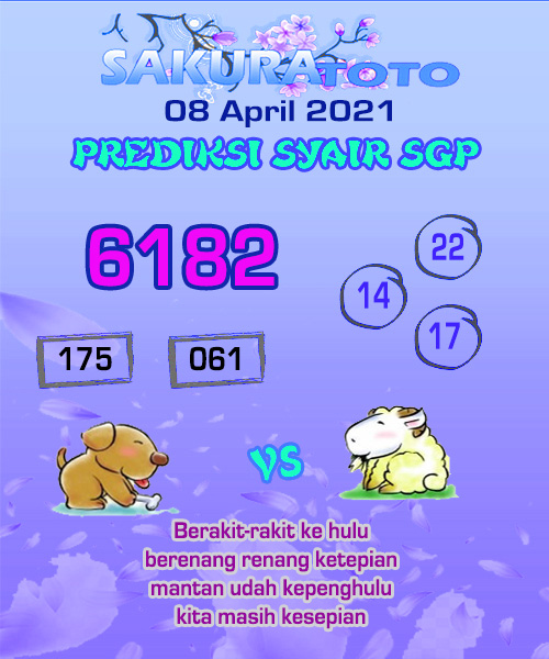 Syair SGP Kamis 08 April 2021 -