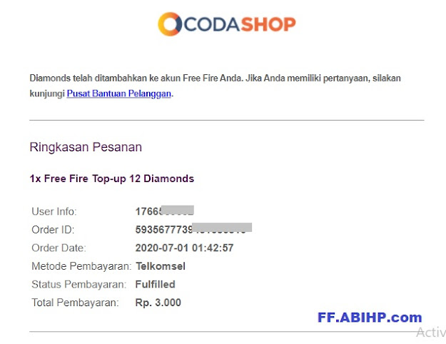 Topup Diamond FF di Codashop Potong Pulsa 6