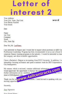 letter of interest examples word format