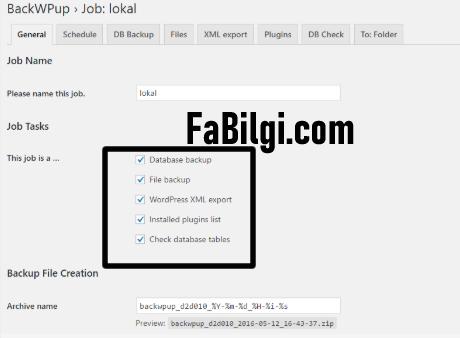 Wordpress Veritabanı ve Site Dosyalarını Yedekleme İndirme - BACKWPUP
