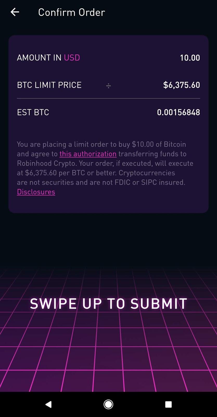 can you send bitcoin to robinhood