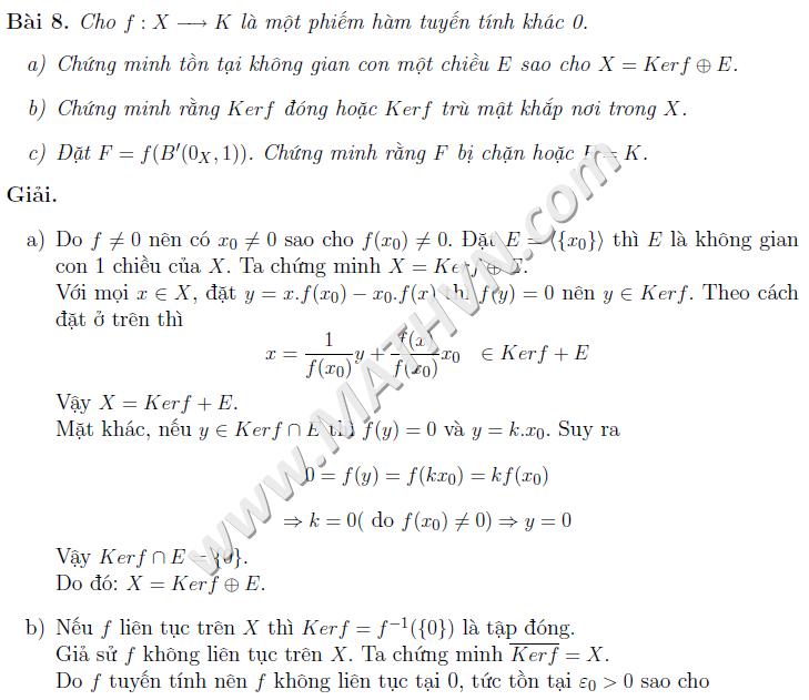 bài tập giải tích hàm có lời giải