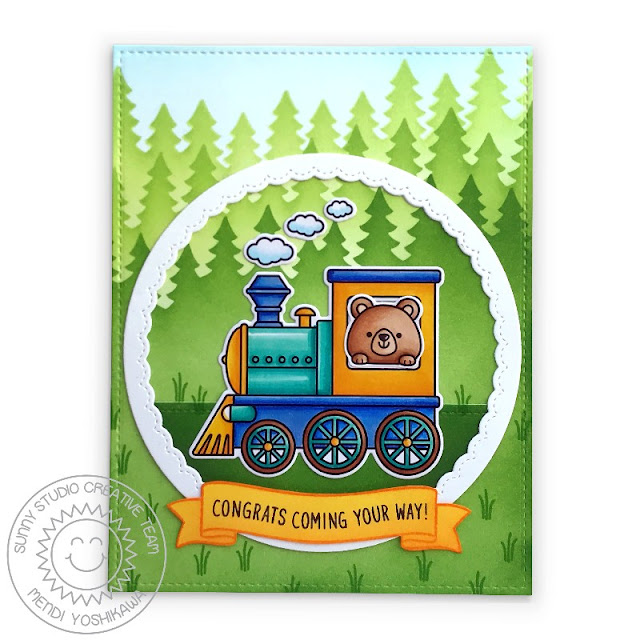 Sunny Studio Bear on Train Congrats Card (using Holiday Express, Beach Buddies & Banner Basics Stamps, Forest Trees Stencil, Frilly Frames Quatrefoil Dies & Fancy Frames Circle Dies)